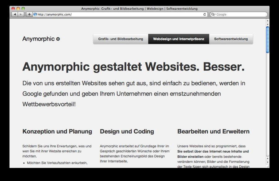 A great web design by Anymorphic, Oldenburg in Niedersachsen, Germany: