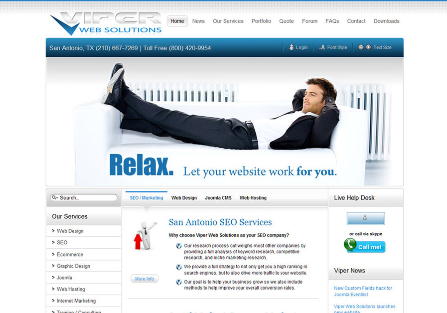 A great web design by Viper Web Solutions, San Antonio, TX:
