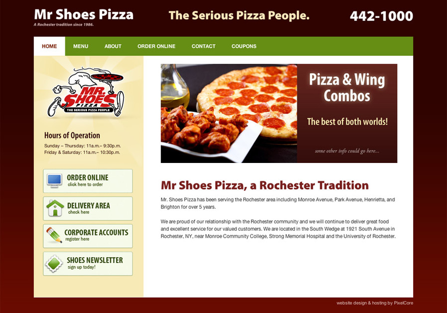 A great web design by PixelCore, Rochester, NY: