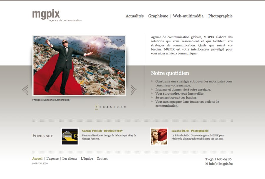 A great web design by MGPIX, Brussels, Belgium: