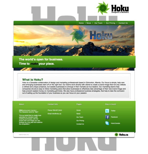 A great web design by Hoku, Edmonton, Canada:
