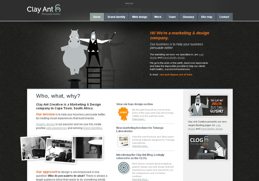 A great web design by Clay Ant Creative, Cape Town, South Africa: