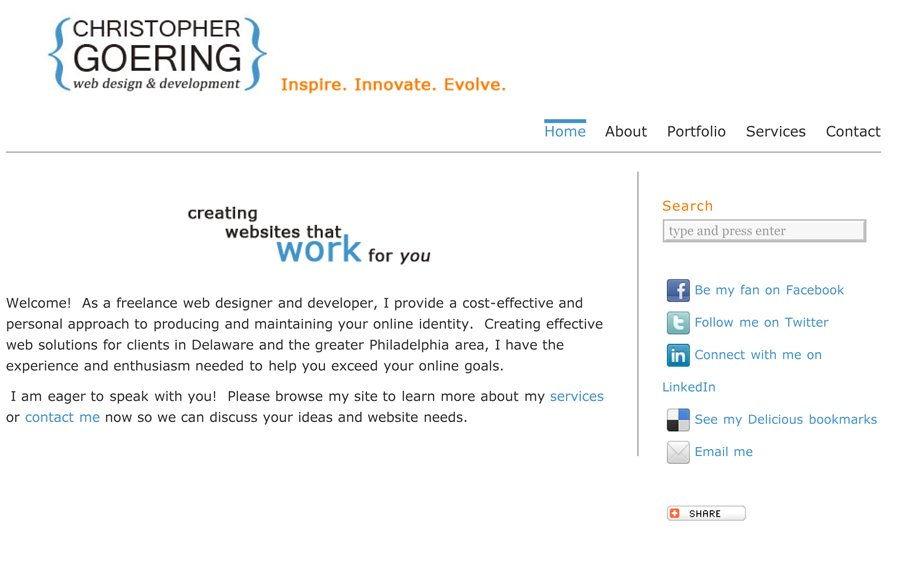 A great web design by Christopher Goering, Wilmington, DE: