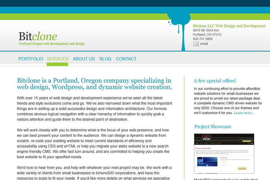 A great web design by Bitclone LLC, Portland, OR: