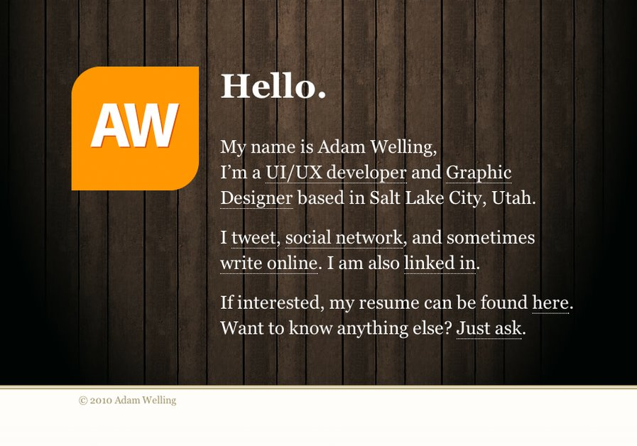 A great web design by Adam Welling, Salt Lake City, UT: