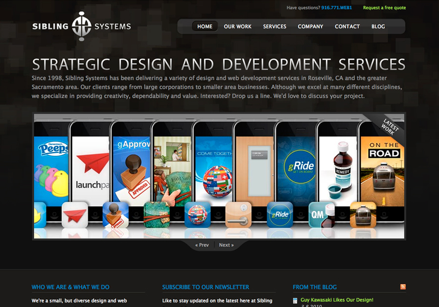 A great web design by Sibling Systems, Sacramento, CA: