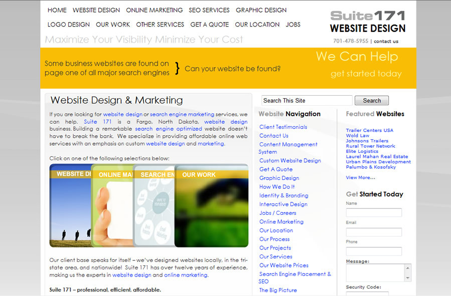 A great web design by Suite 171 Website Design, Fargo, ND: