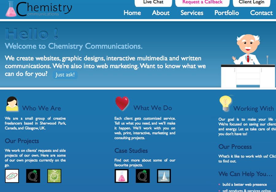 A great web design by Chemistry Communications, Edmonton, Canada: