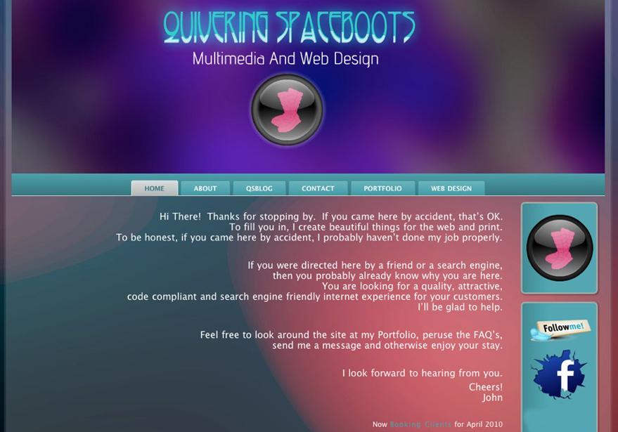 A great web design by Quivering Spaceboots, Edmonton, Canada: