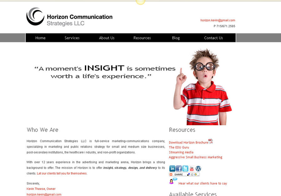 A great web design by Horizon Communication Strategies LLC, Minneapolis, MN: