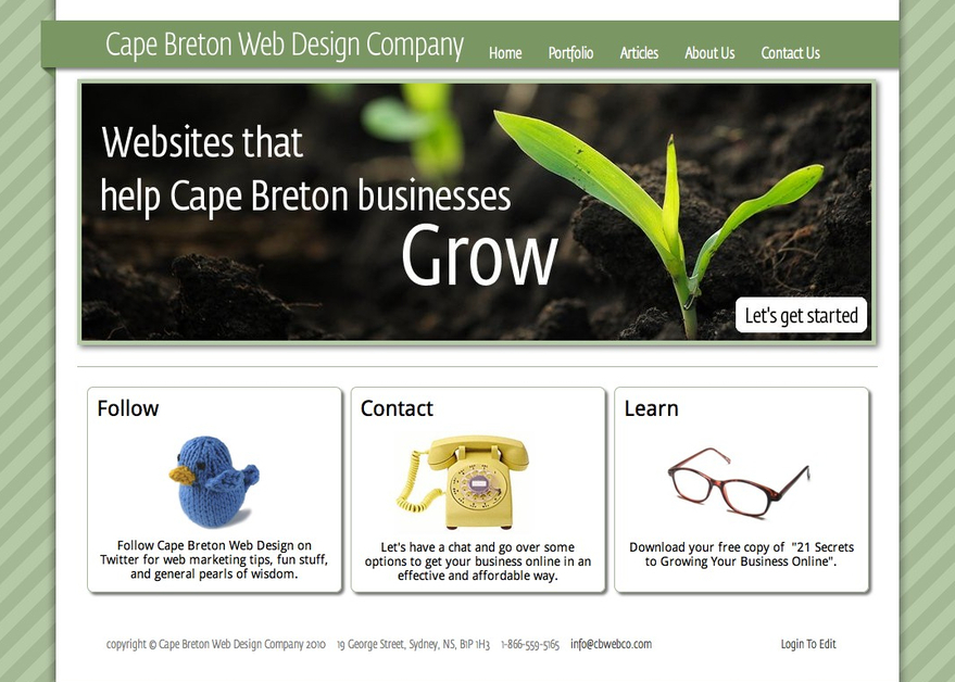 A great web design by Cape Breton Web Design, Cape Breton, Canada: