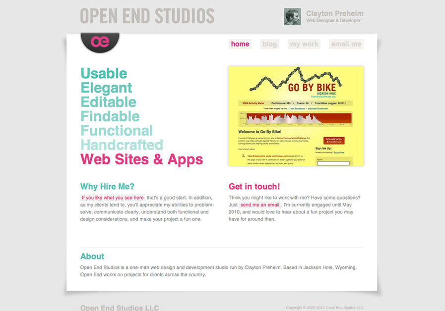 A great web design by Open End Studios, Jackson Hole, WY: