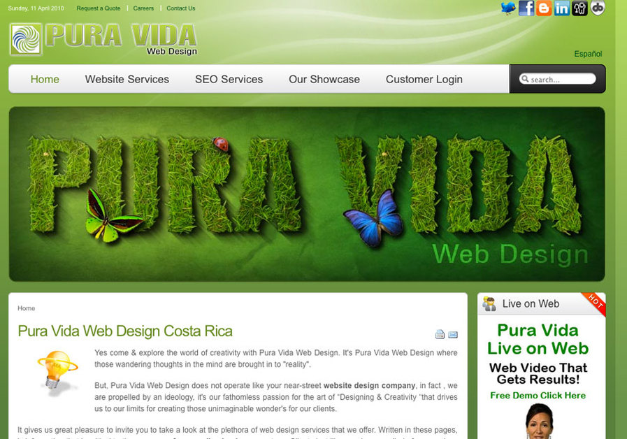 A great web design by Pura Vida Web Design, San Jose, Costa Rica: