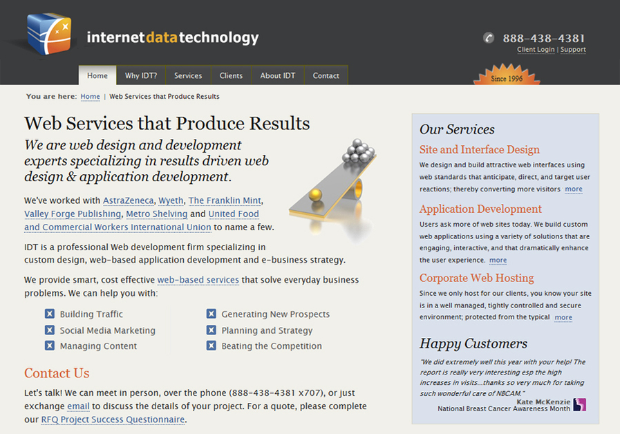 A great web design by IDT, Philadelphia, PA: