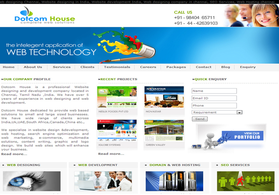 A great web design by Dotcom House - Complete Web Solutions, Chennai, India: