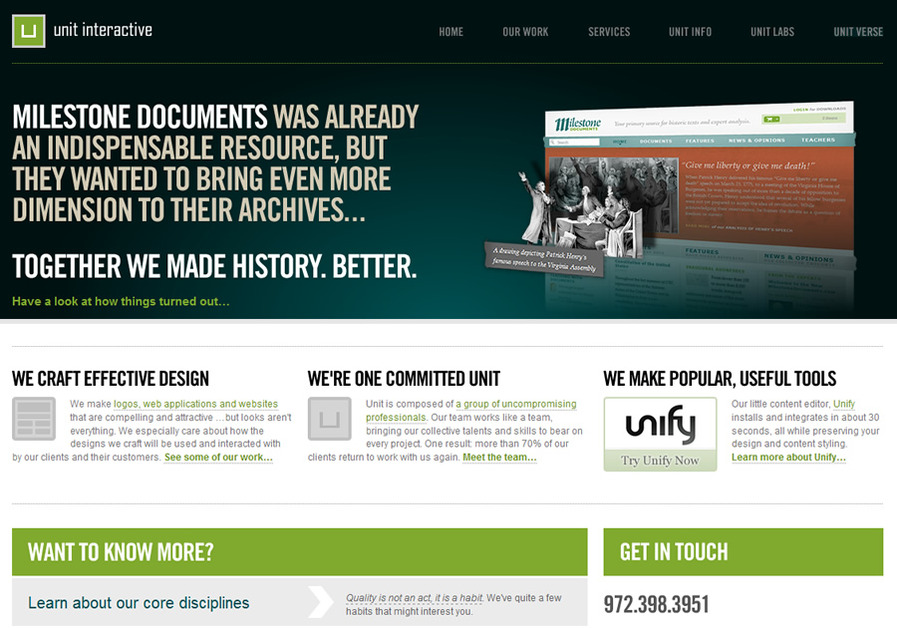 A great web design by Unit Interactive, Dallas, TX: