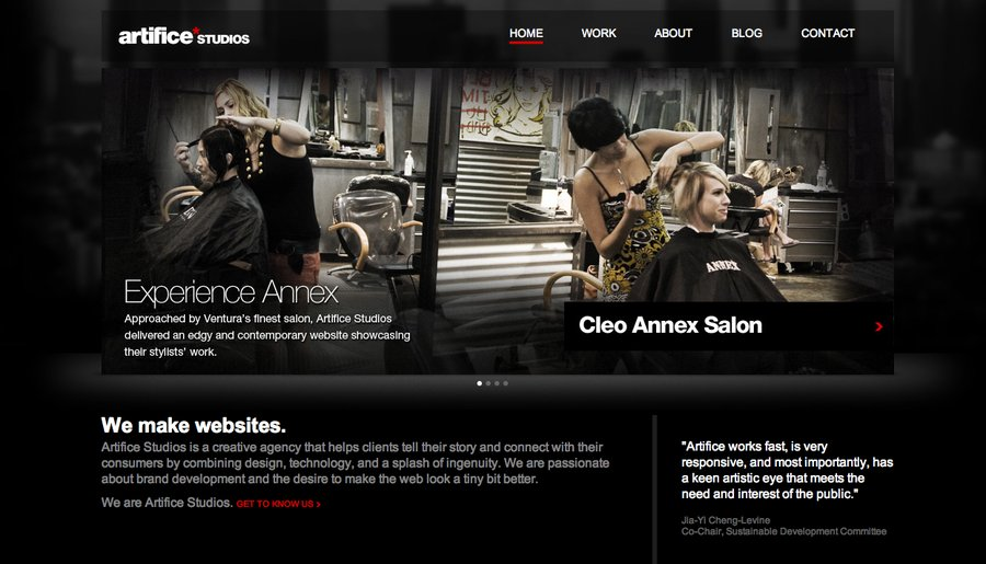 A great web design by Artifice Studios, Los Angeles, CA: