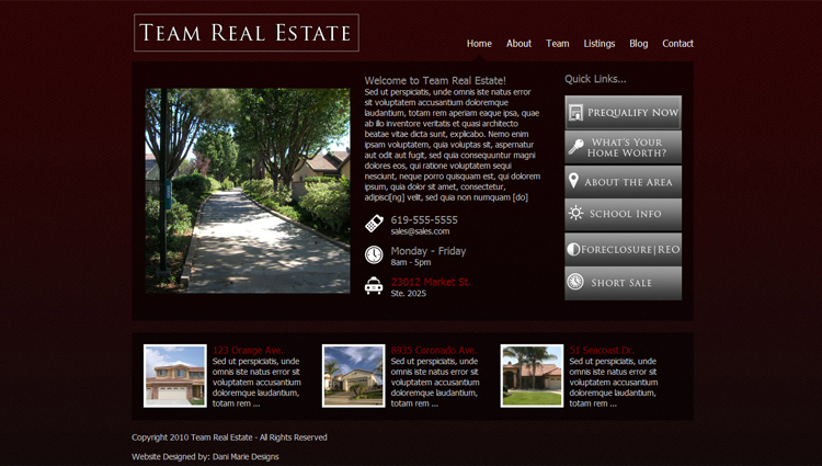 A great web design by Dani Marie Designs, San Diego, CA: