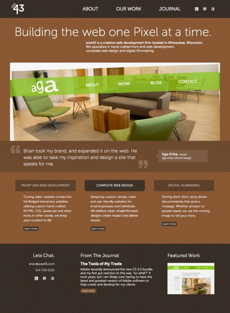 A great web design by size43 LLC, Milwaukee, WI: