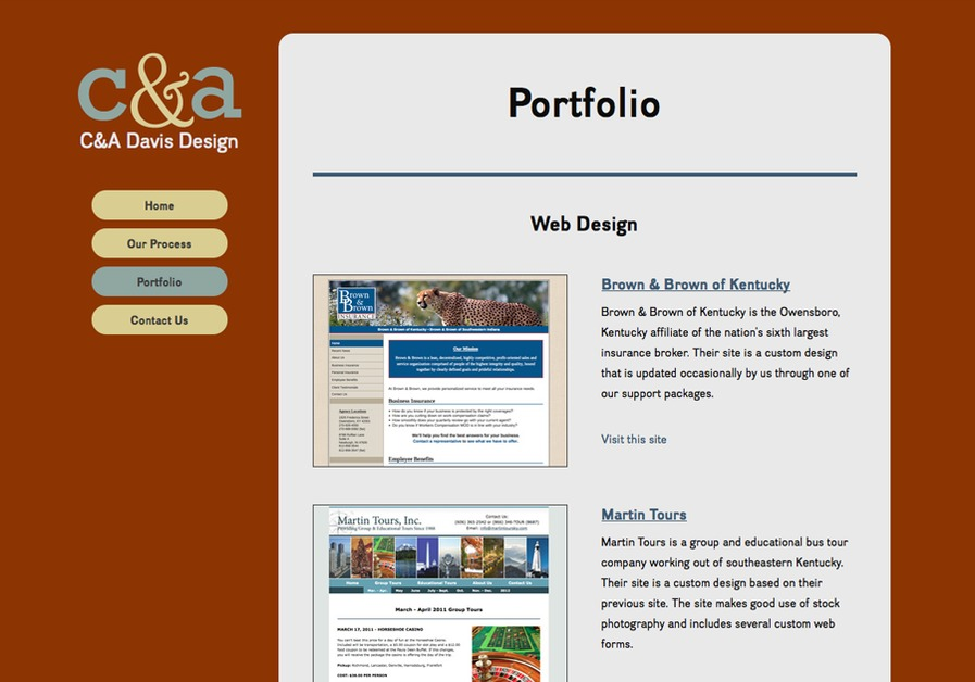 A great web design by C&A Davis Design, Lexington, KY:
