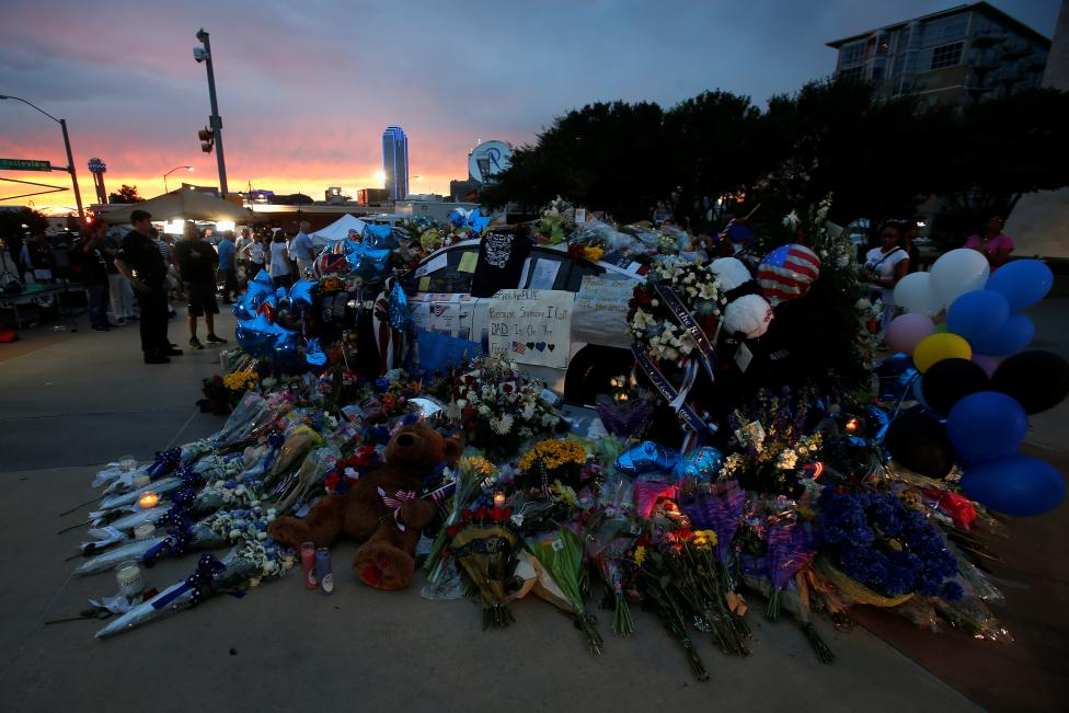 The makeshift memorial is pictured at Dallas Police Headquarters following the multiple police shootings in Dallas