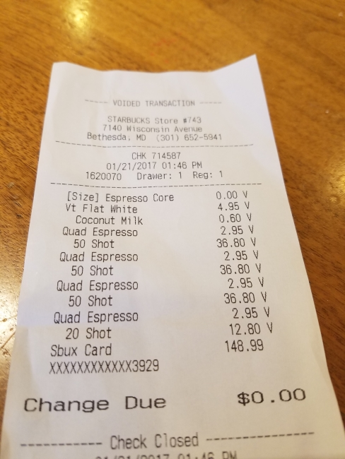 "The bill for the ""most expensive Starbucks coffee"" ©SouthFloridaReporter.com"
