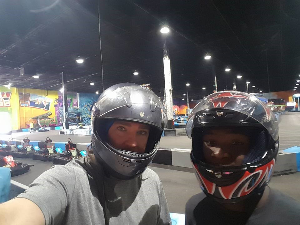 Chad  Van Dorn and  Desmond Go-Kart Outing