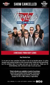 CANCELLED - Huey Lewis and The News return to Hard Rock Event Center @ Hard Rock Event Center  | Hollywood | Florida | United States