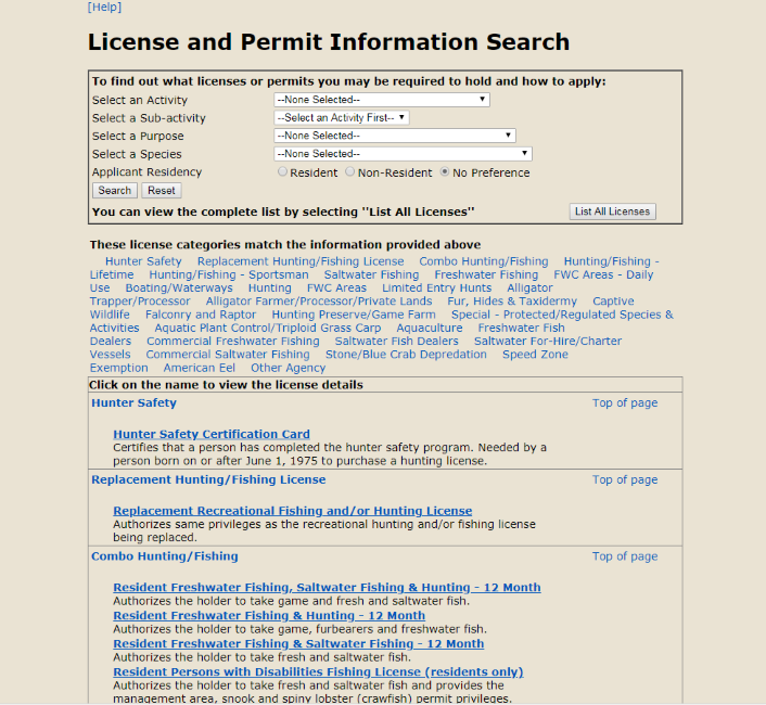A guide to florida hunting permits south florida reporter for Florida resident fishing license