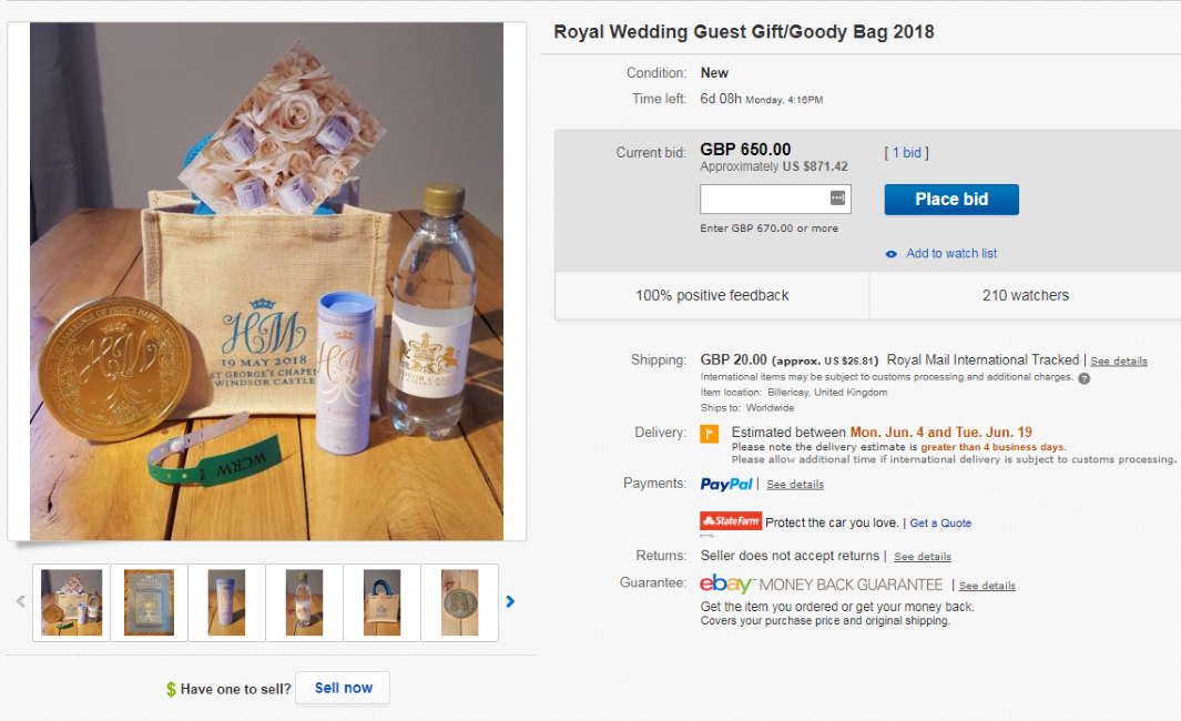 People Are Selling Their Royal Wedding Gift Bags On Ebay South
