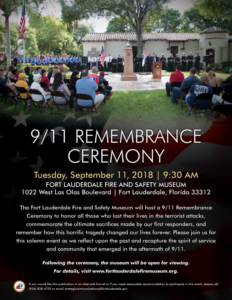 Fort Lauderdale Fire and Safety Museum 9/11 Remembrance Ceremony @ Fort Lauderdale Fire and Safety Museum | Fort Lauderdale | Florida | United States