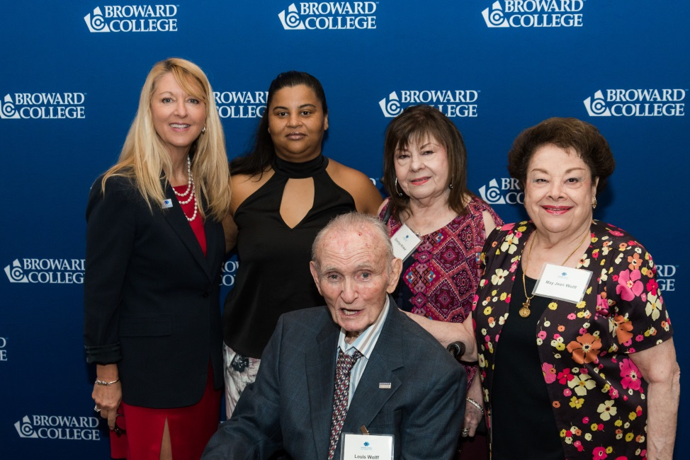 Nancy O'Donnell-Wilson, Broward College Vice President for Advancement and Broward College Foundation Executive Director, with Diane Reeves, Sherlye Kinker, Lou and May Jean Wolfe