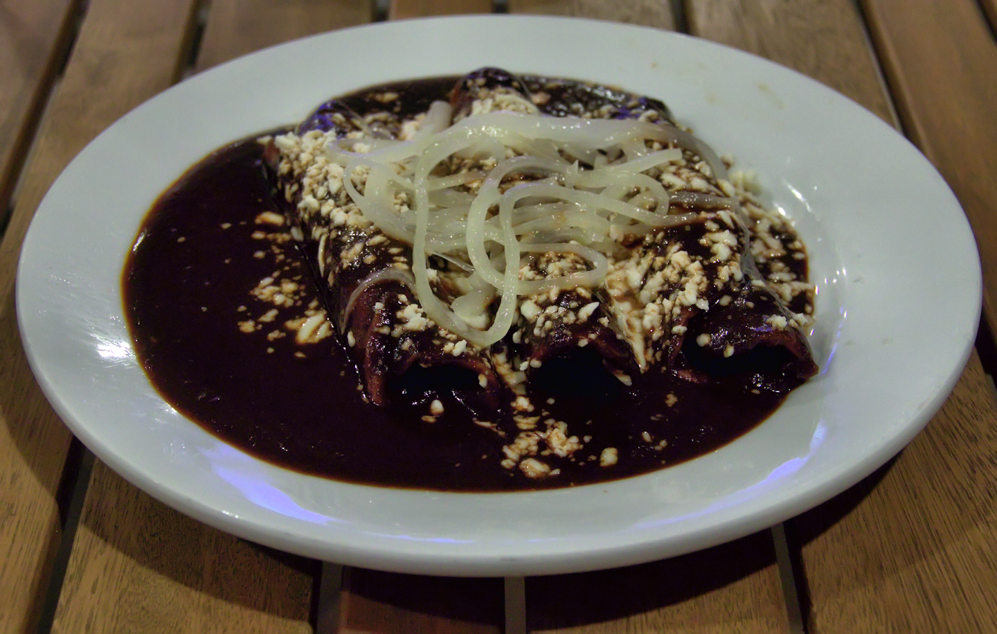 Enchiladas in mole sauce