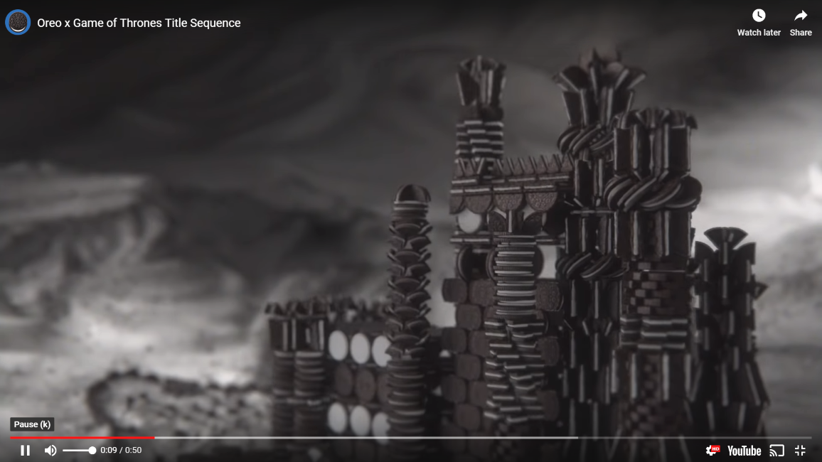 Oreo Used 2 750 Animated Oreo Cookies For Game Of Thrones Opening