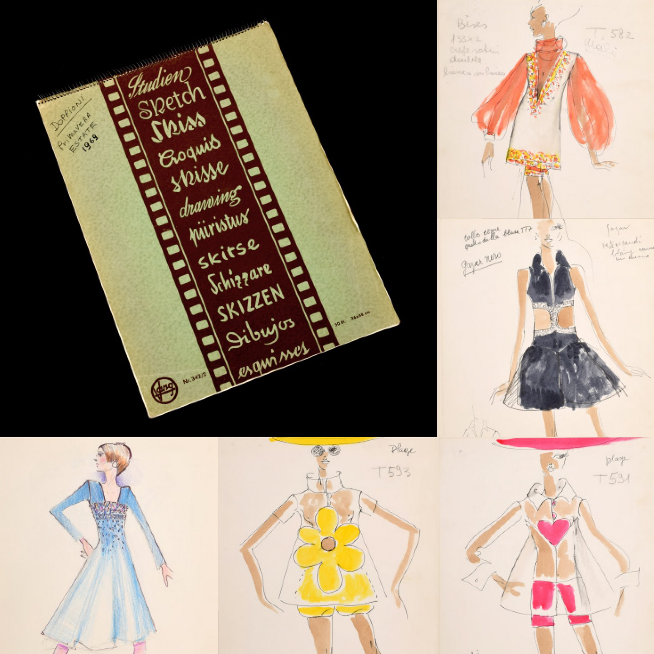 1960s sketchbook/portfolio containing 22 hand-colored, hand-annotated original fashion drawings created by Karl Lagerfeld (German, 1933-2019) while engaged by House of Tiziani, Rome. Estimate: $2,000-$4,000