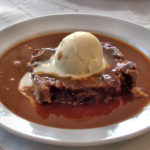 Bread pudding with butterscotch sauce
