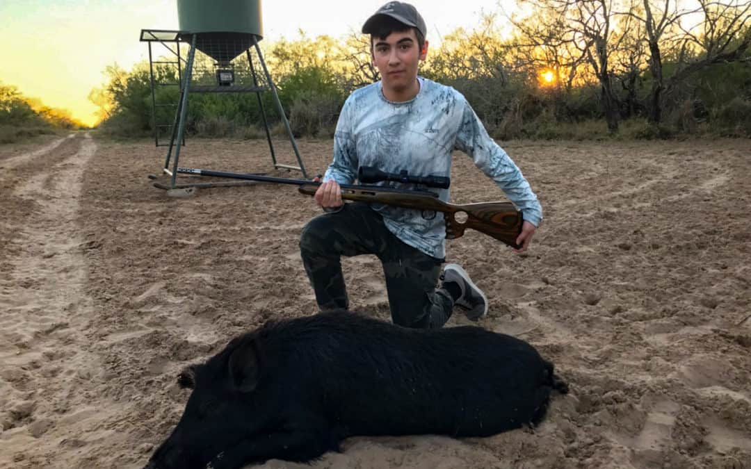 Eden With his 1st Hog Harvest… Congrats buddy! 👍