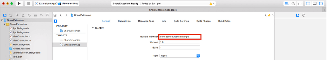 "create ""Share Extension"""