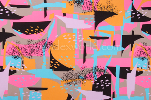Abstract Print Spandex (Pink/Orange/Multi)