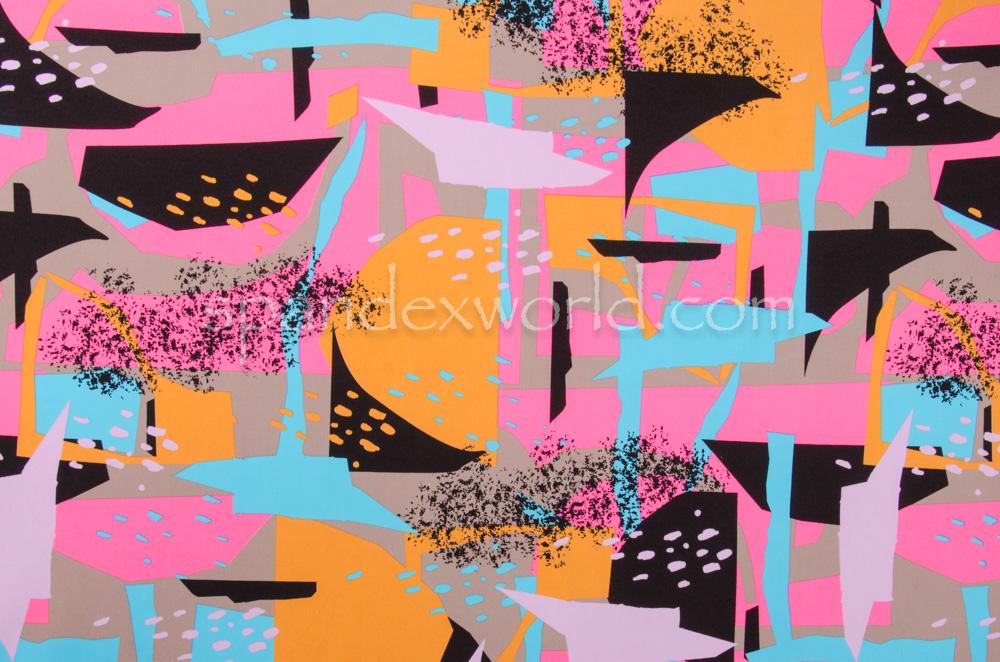 Abstract Print Spandex (Pink/Orange/Multi)
