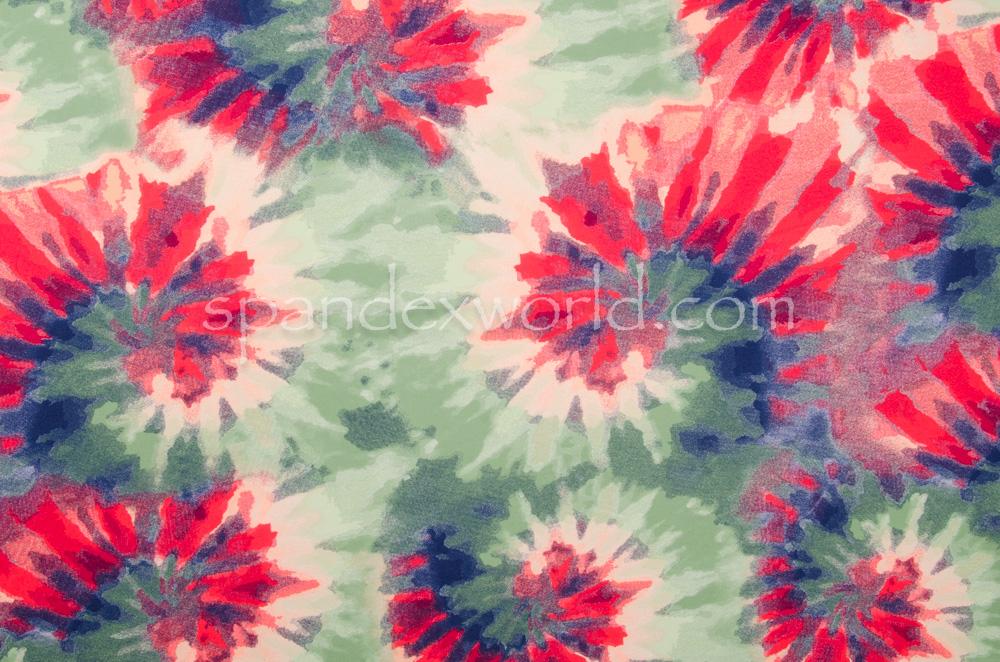 Tie Dye spandex  (Red/Green/Multi)