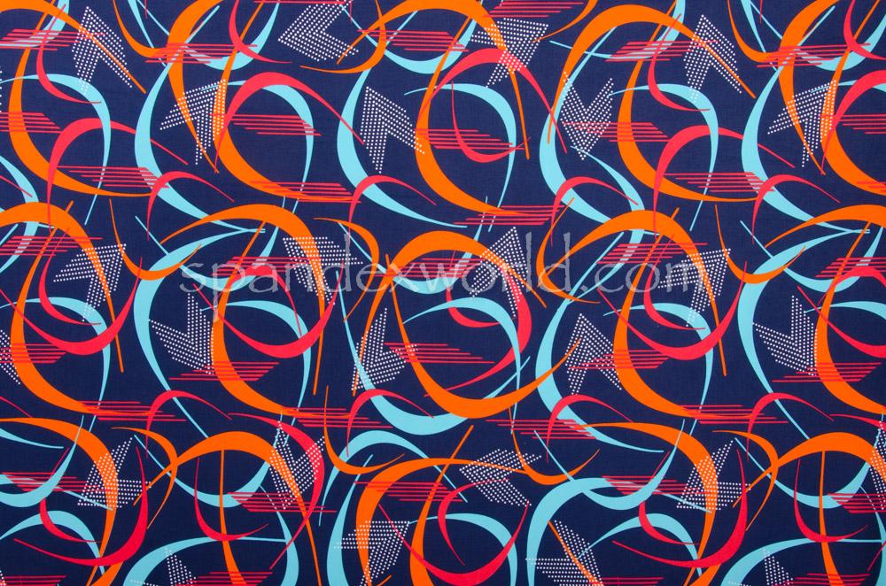 Abstract Print Spandex (Navy/Orange/Multi)