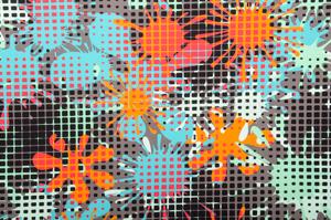 Abstract Print Spandex (Blue/Orange/Multi)
