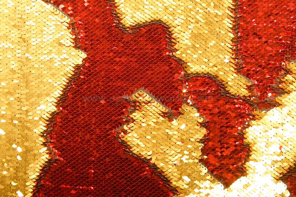 Stretch Sequins (Red/Gold)