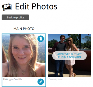 Remove photos from your JDate profile by clicking on the trashcan icon.