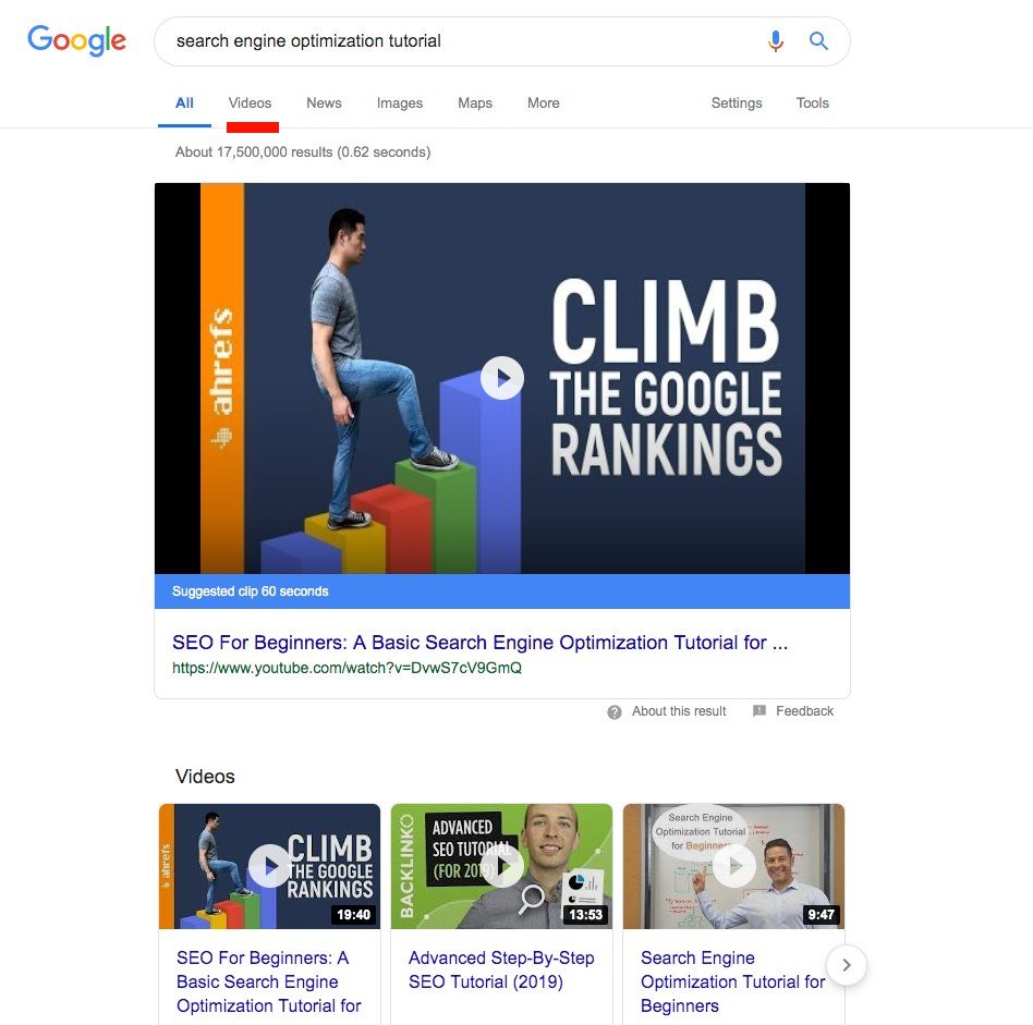 Search engine results page for search engine optimization tutorial on Google