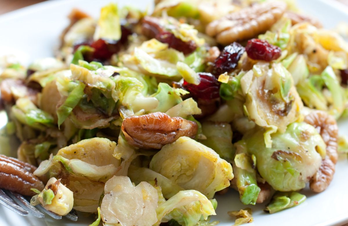 Buttery Brussels Sprouts with Sage, Dried Cranberries and Pecans