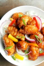 General Tso's Chicken with Peppers & Onions over Rice