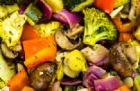 Oven Roasted Vegetables (carrots, leeks, broccoli parsnips, sprouts, peppers)