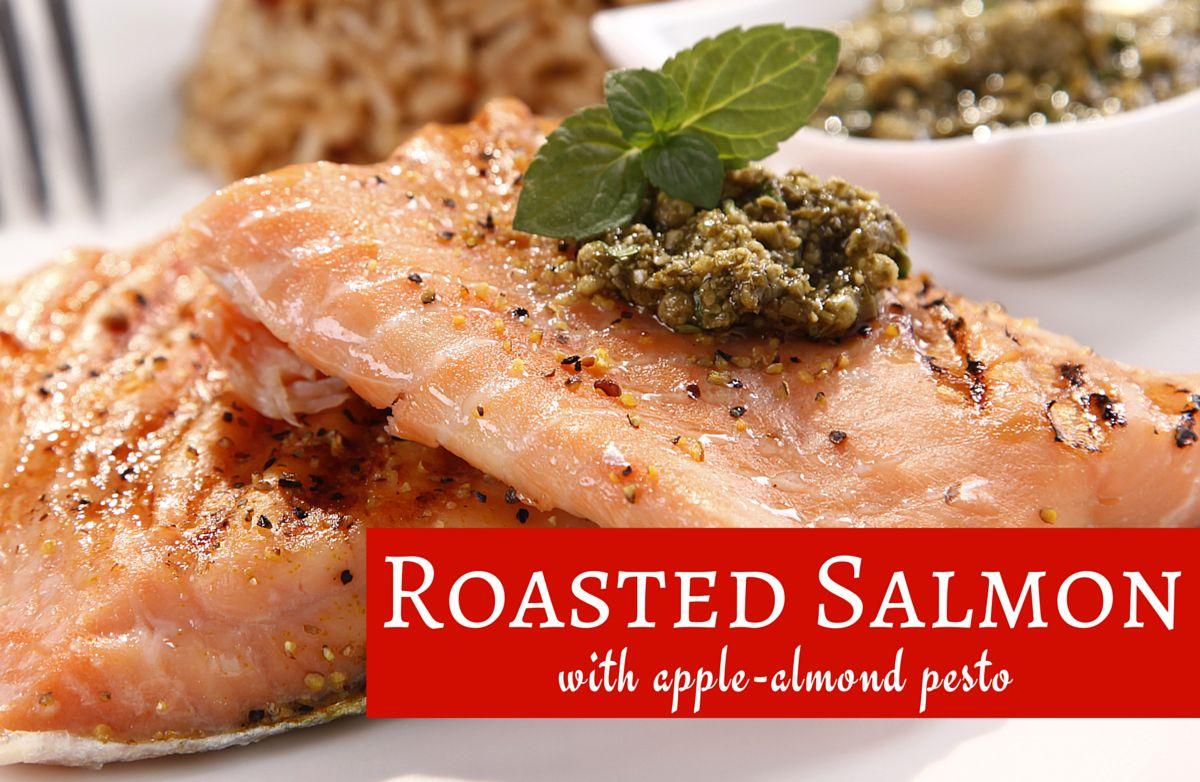 Roasted Salmon with Apple-Almond Pesto